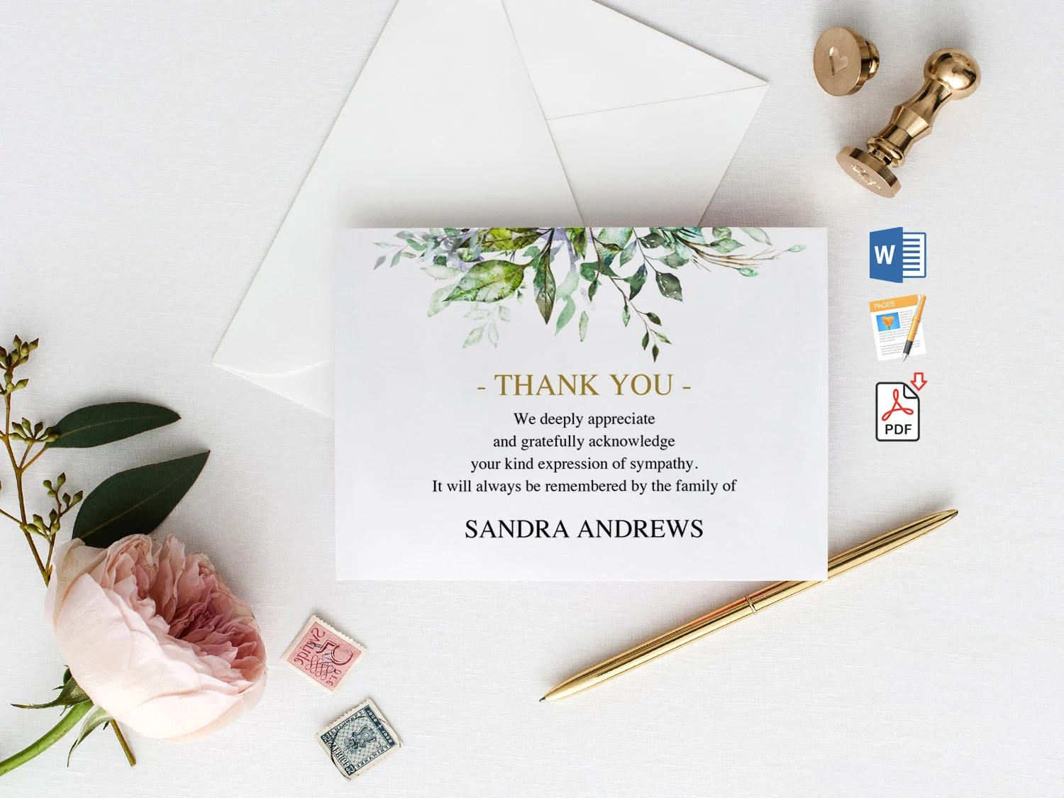 Funeral Thank You Cards Printable Funeral Thank You Notes Etsy