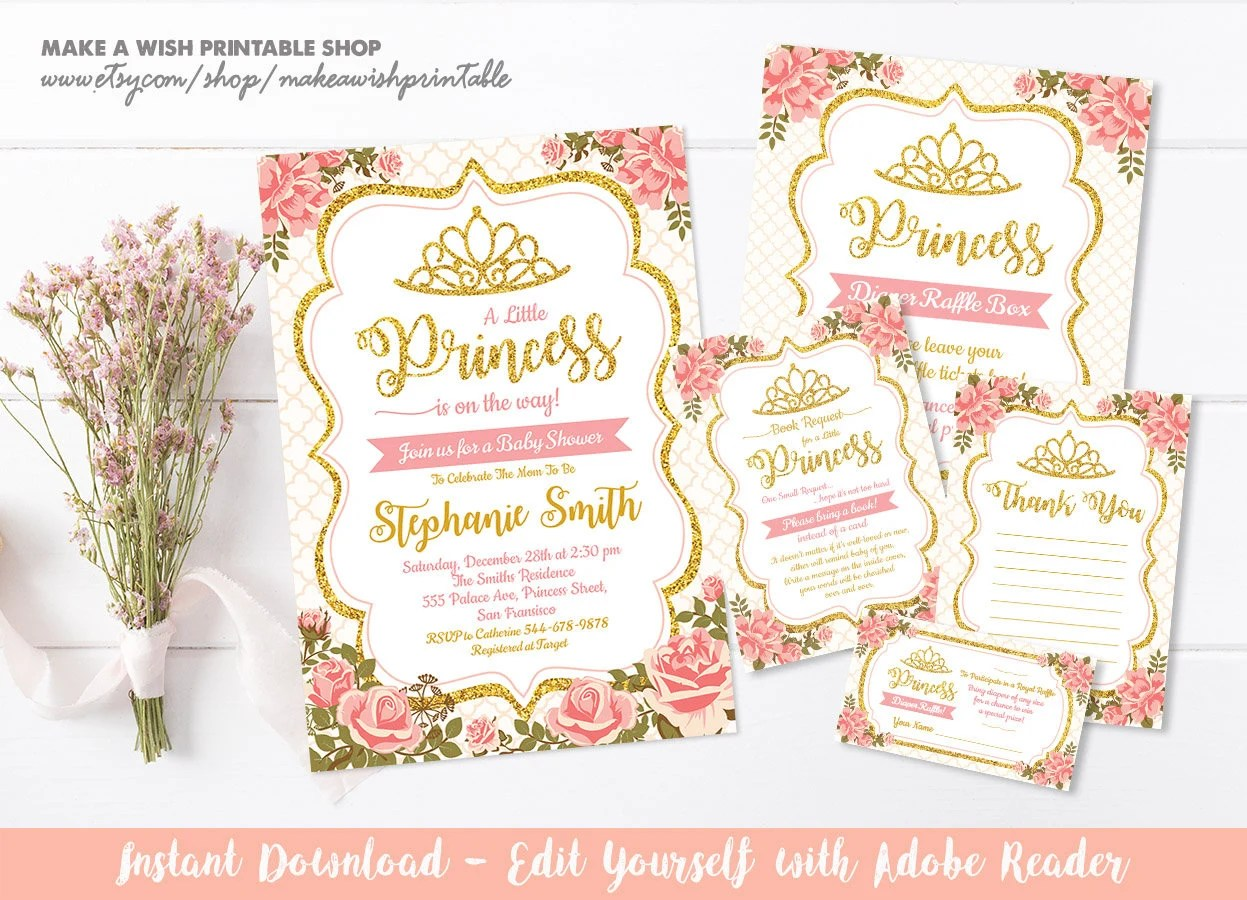 Floral Baby Shower Invitation Template, Floral Princess Baby Shower