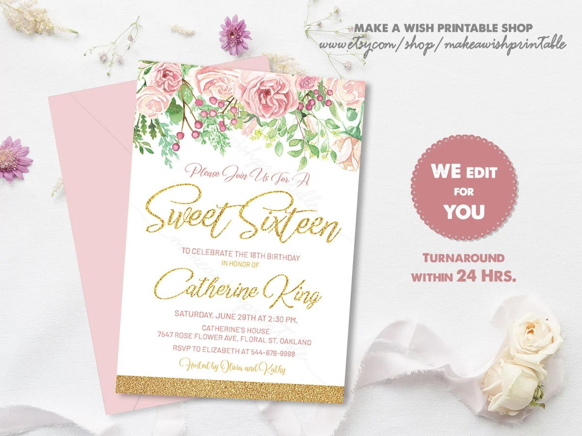 Sweet 16 Invitation Printable, Sweet 16 Invitation Pink and Gold