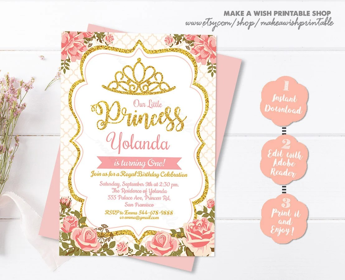 Princess Birthday Invitation, Girl Birthday Invitation Template