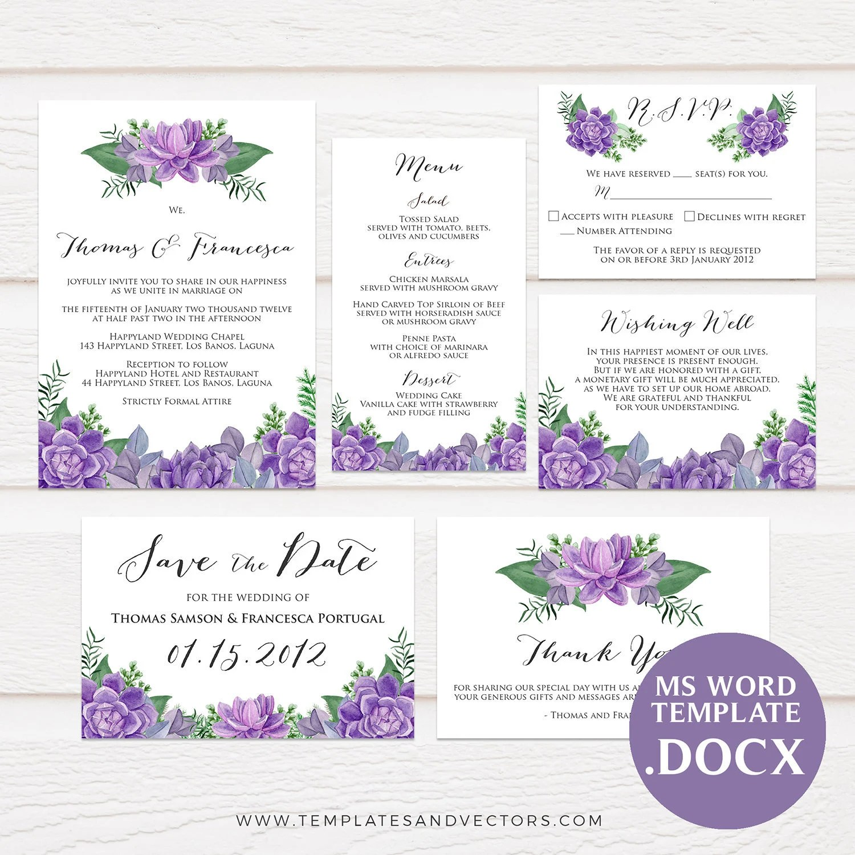 Purple Succulent Watercolor Wedding Invitation Template Etsy