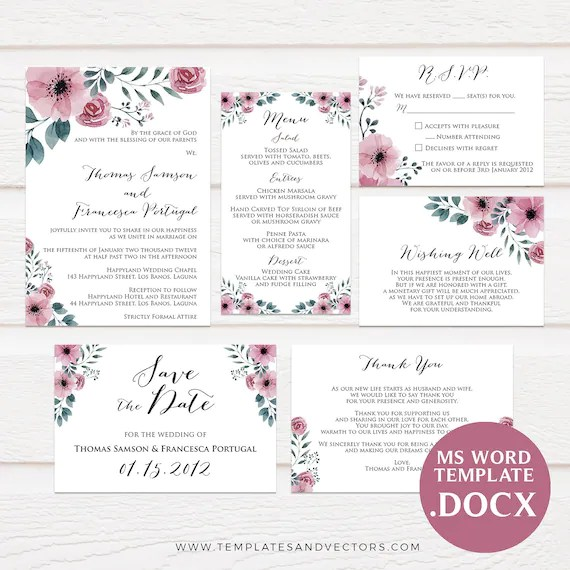 Pink Floral Watercolor Wedding Invitation Template Printable Etsy