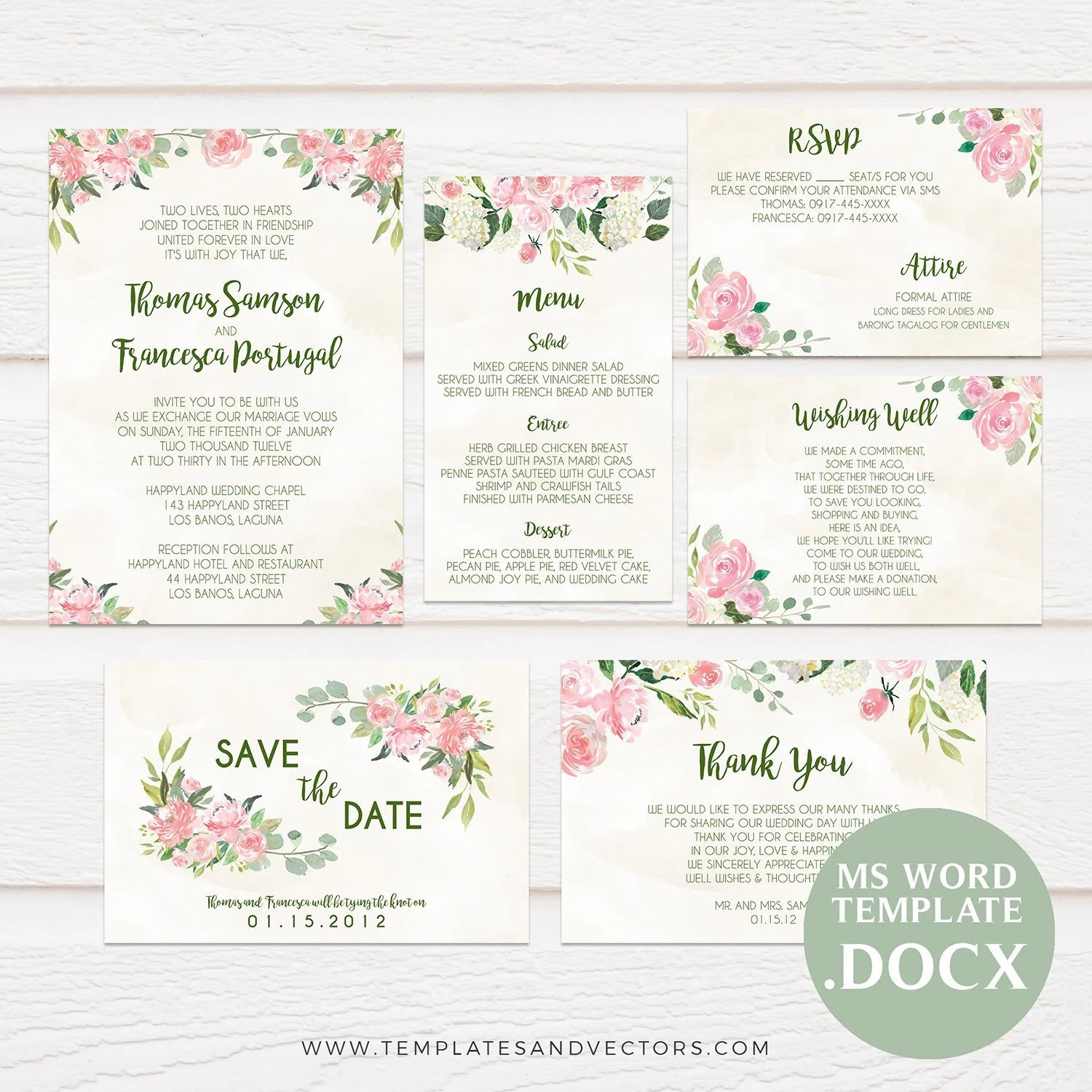 Watercolor Floral Wedding Invitation Template Printable Etsy