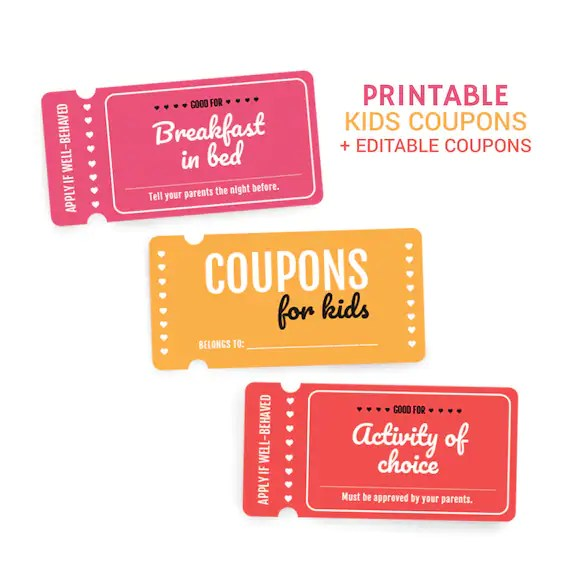 Kids Rewards Coupon Book Printable Kids Coupons Editable Etsy