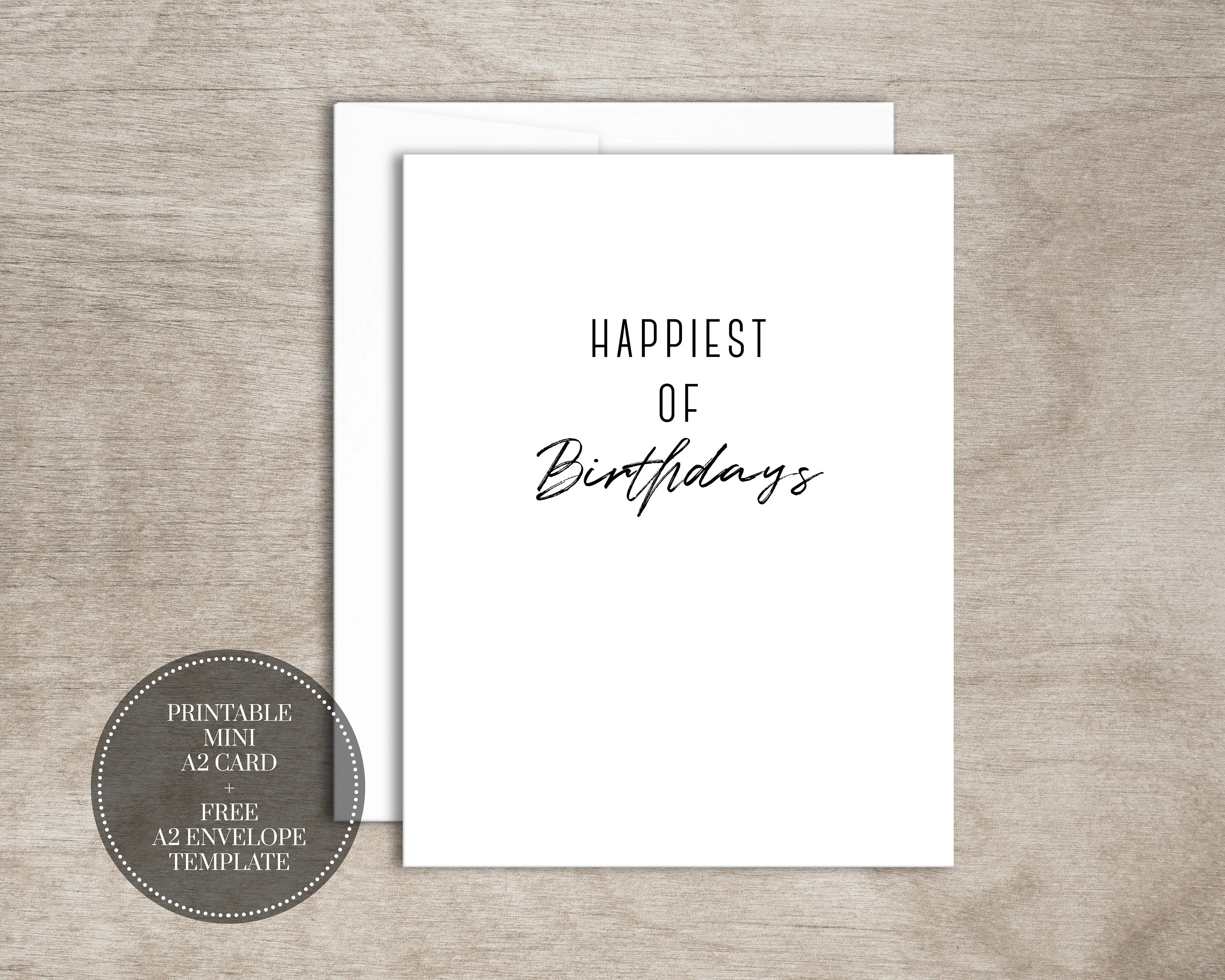 PRINTABLE Birthday Card INSTANT DOWNLOAD Digital Mini Greeting Etsy