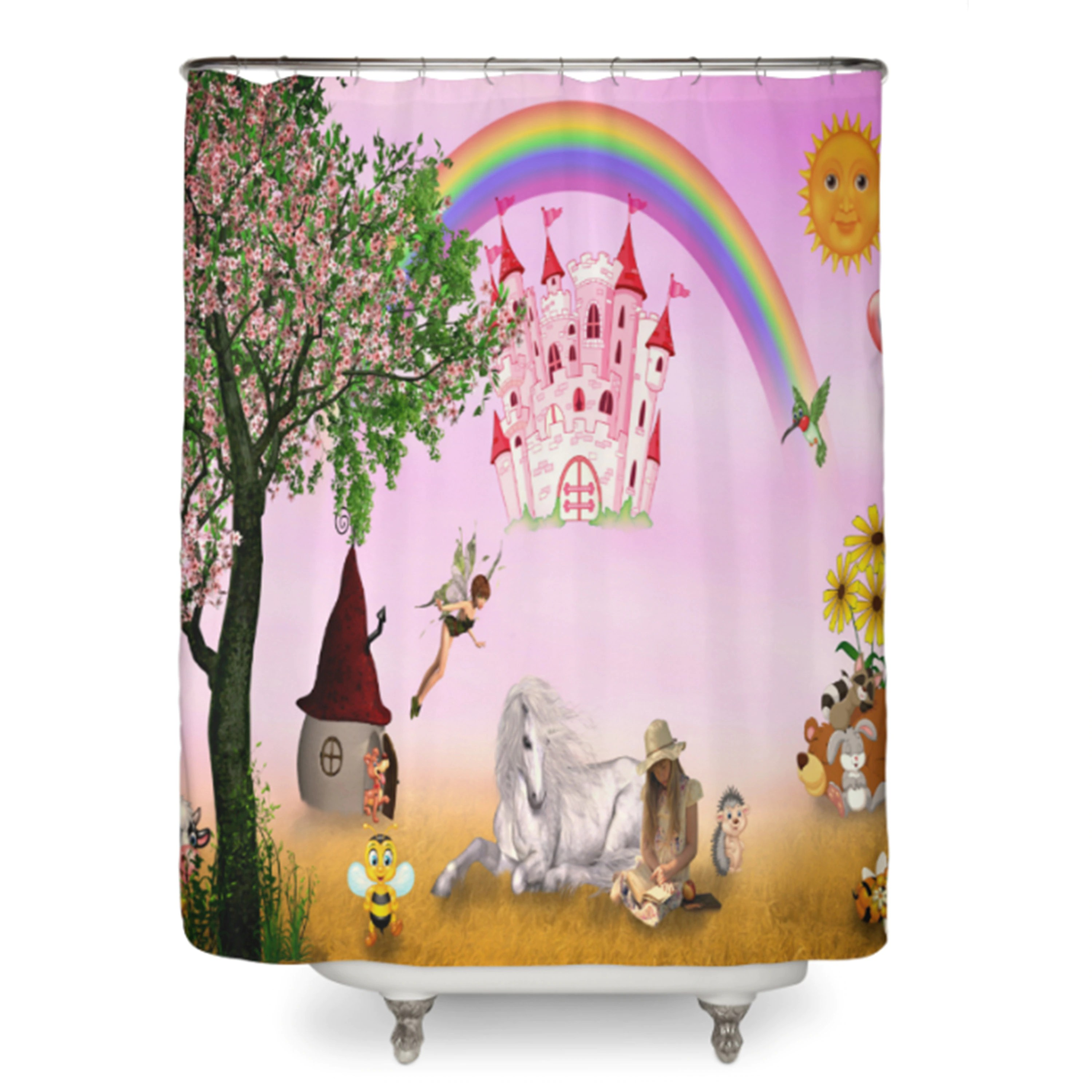 Cute Girly Shower Curtains Fairy Tale Shower Curtain Girly Bathroom Decor Girls Shower Curtain Pink Fairies Fairytale Shower Curtain Rainbow Kids Shower Curtains