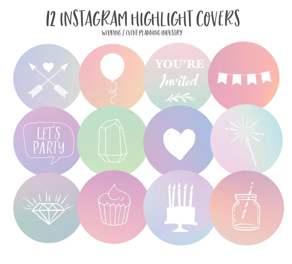 Instagram Story Highlight Covers for Wedding Industry / Event Etsy