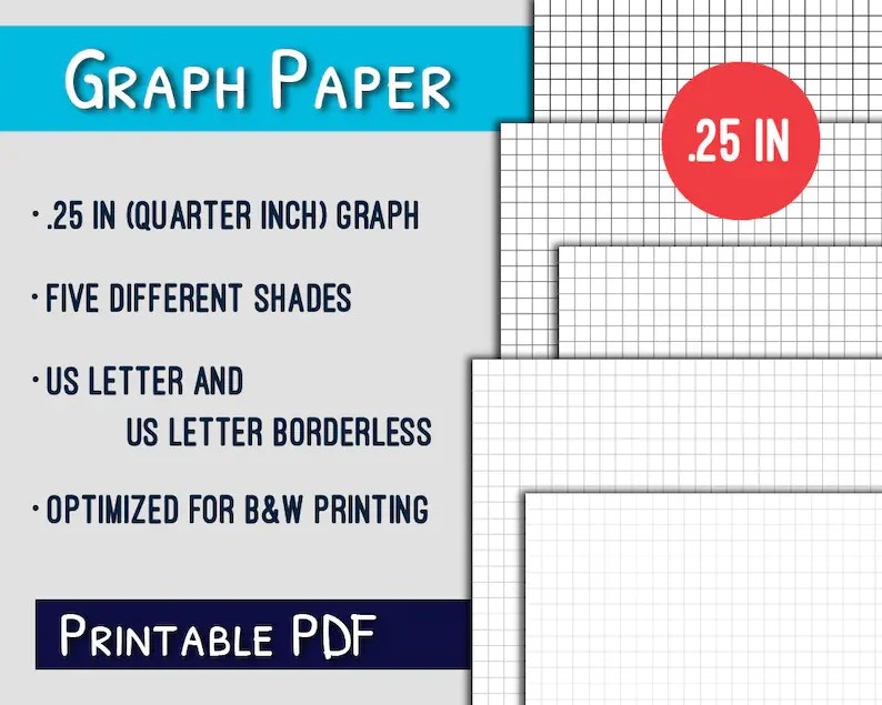 Graph Paper Printable25in Quarter Inch Letter Graph Paper Etsy