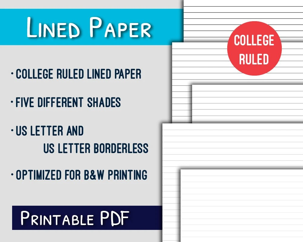 Lined Paper PrintableCollege Ruled Letter Lined Paper Etsy
