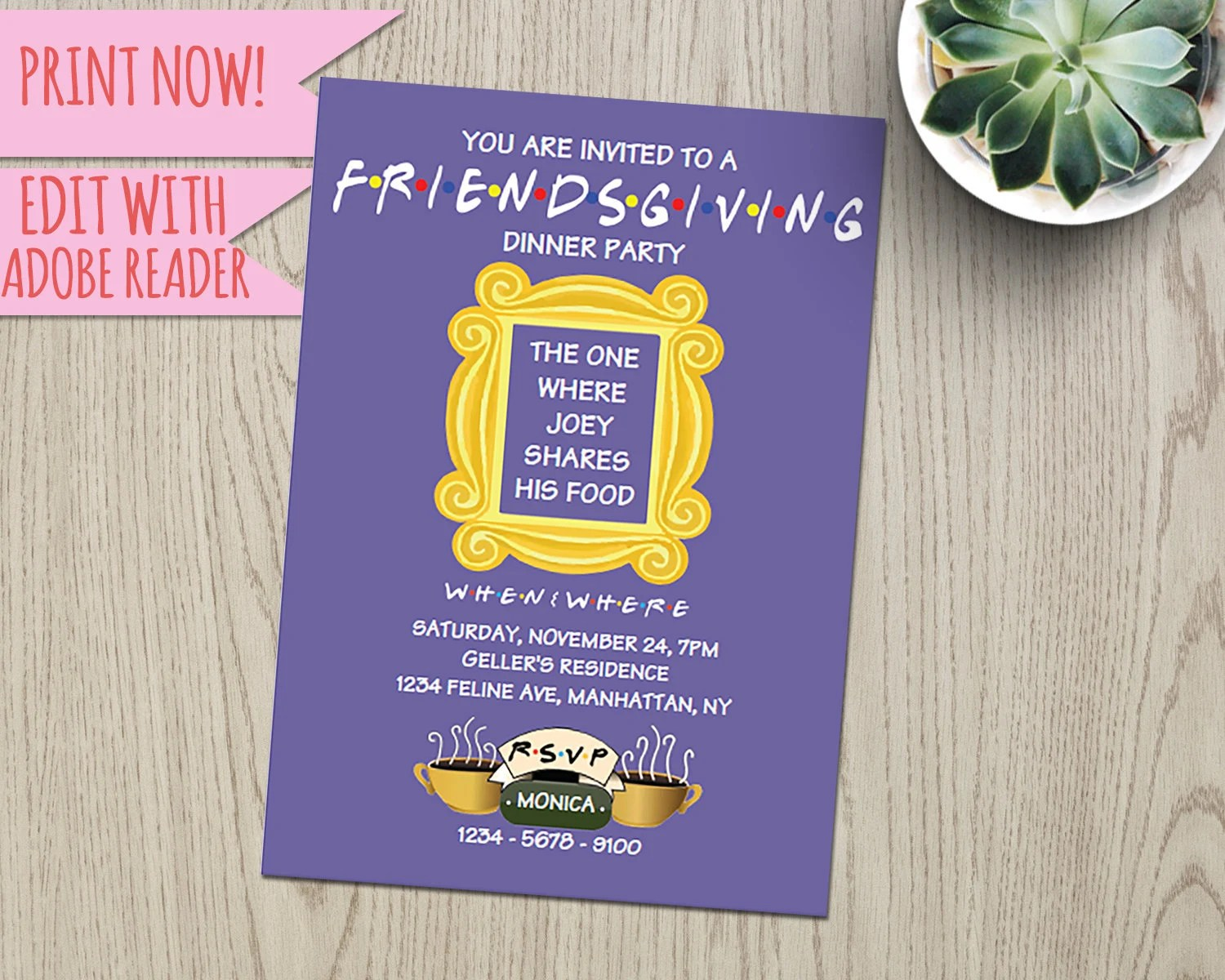 Friends / Thanks giving / Thanksgiving / Party / Invite / TV Etsy