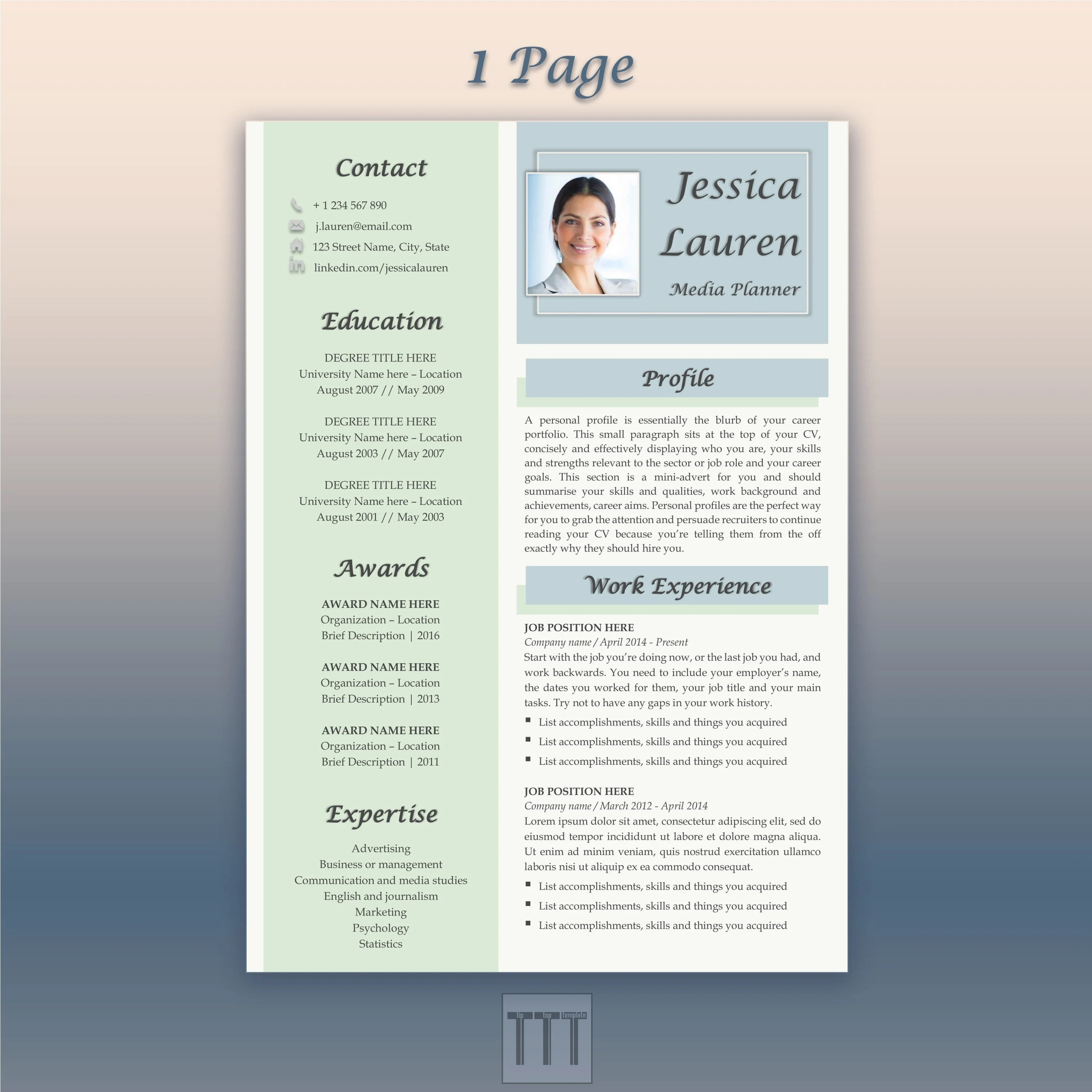 Blue resume Creative resume and cover letter template Google Etsy
