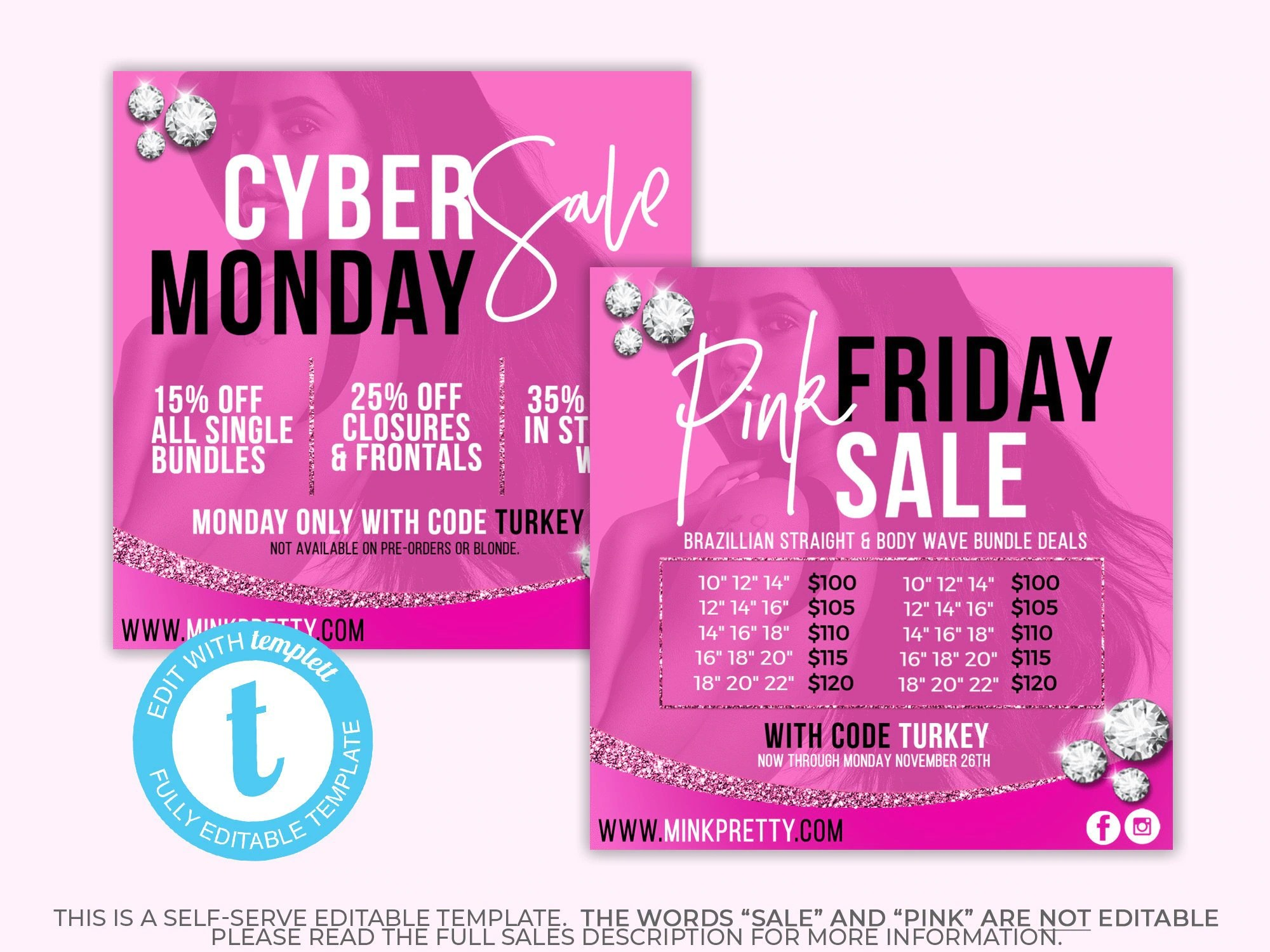 Ah Black Friday Black Friday Bundle Deals Template Pink Friday Hair Extensions Digital Flyer Cyber Monday Instagram Ad Hair Business Promo Branding