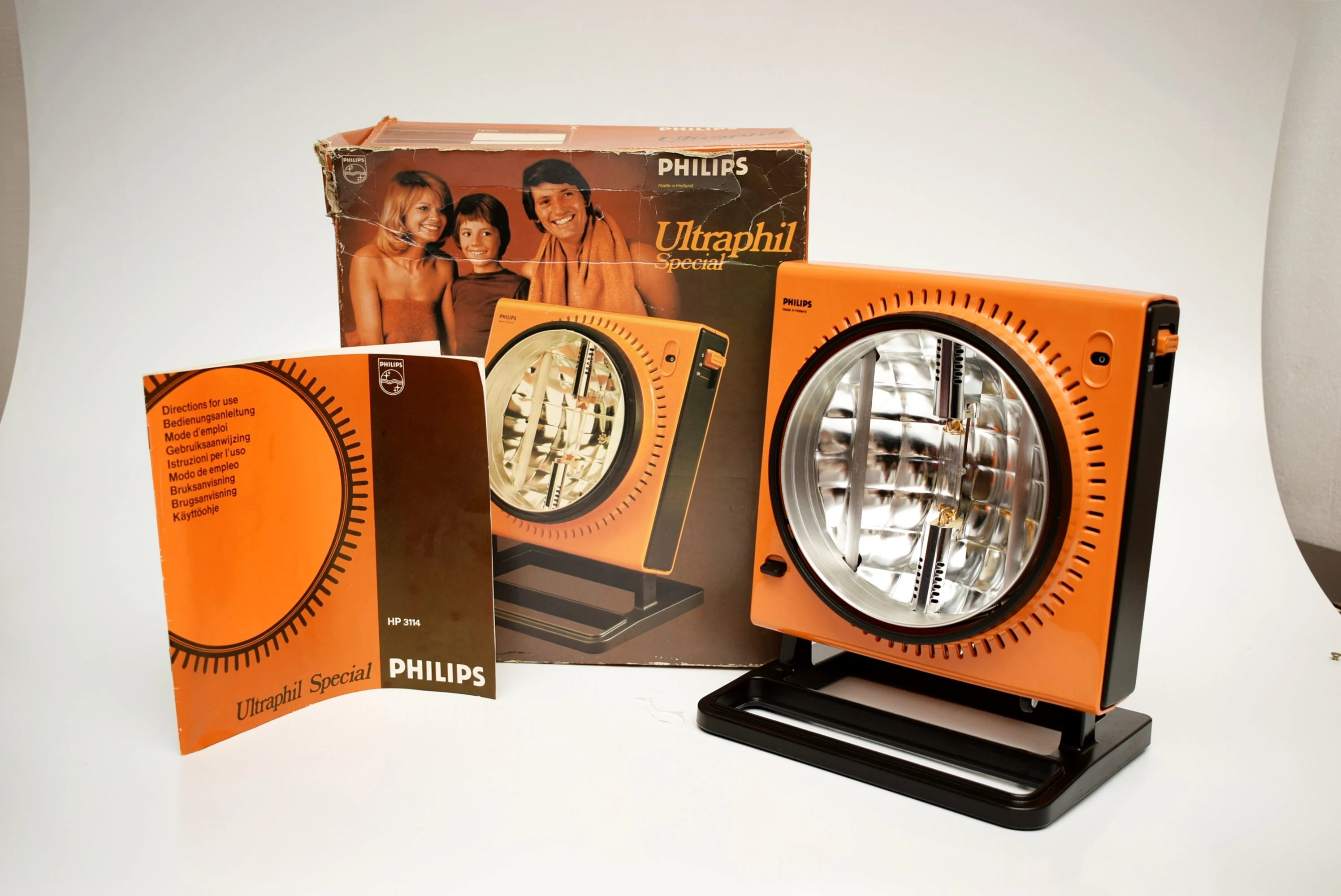 Retro Strahler Vintage Philips Ultraphil Heater Lamp Mid Century Uv Retro Orange Holland Working With Box Paper