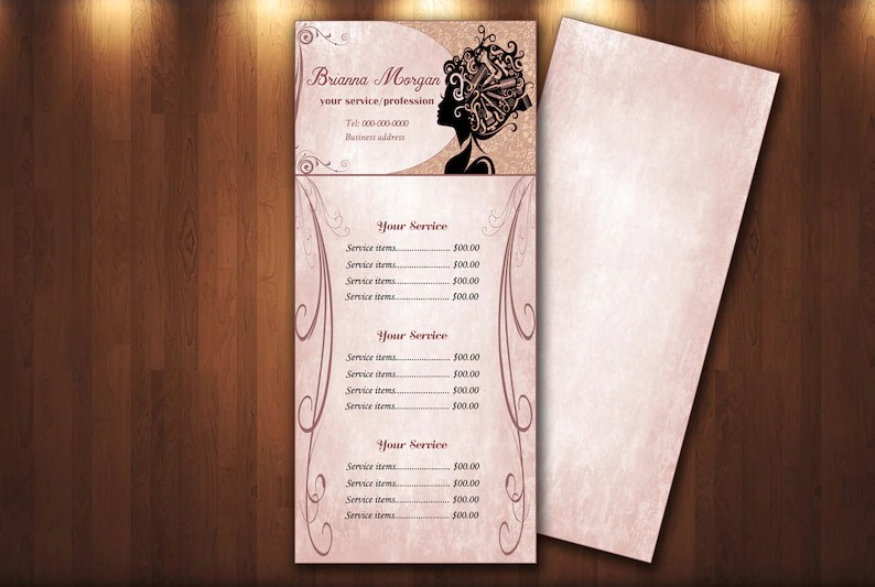 Beauty Salon pricing menu Price List template Editable Etsy