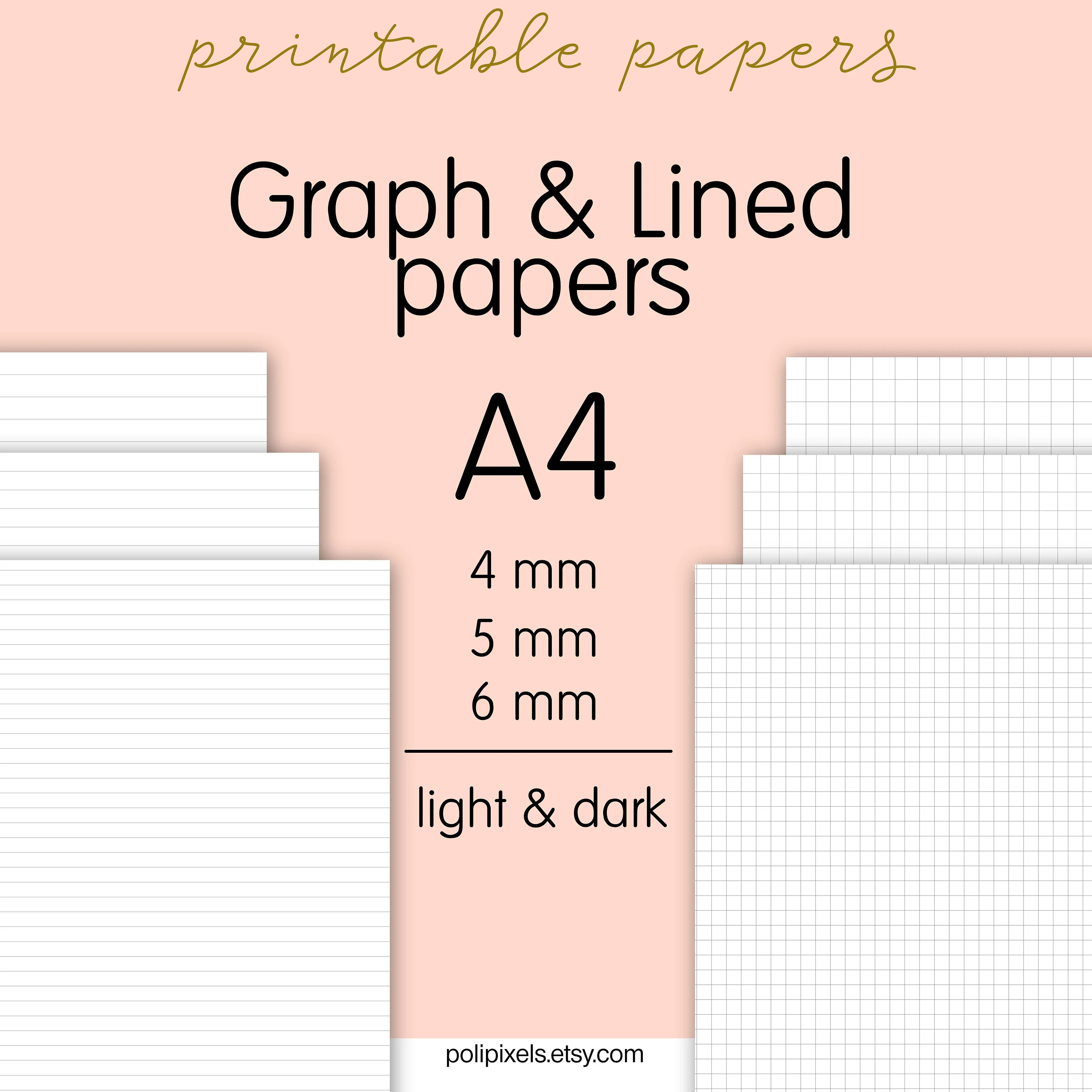 Printable A4 Graph and Lined papers Digital Lined paper - digital graph paper