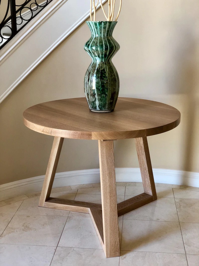 Round Oak Dining Table Round Rift Sawn White Oak Dining Table