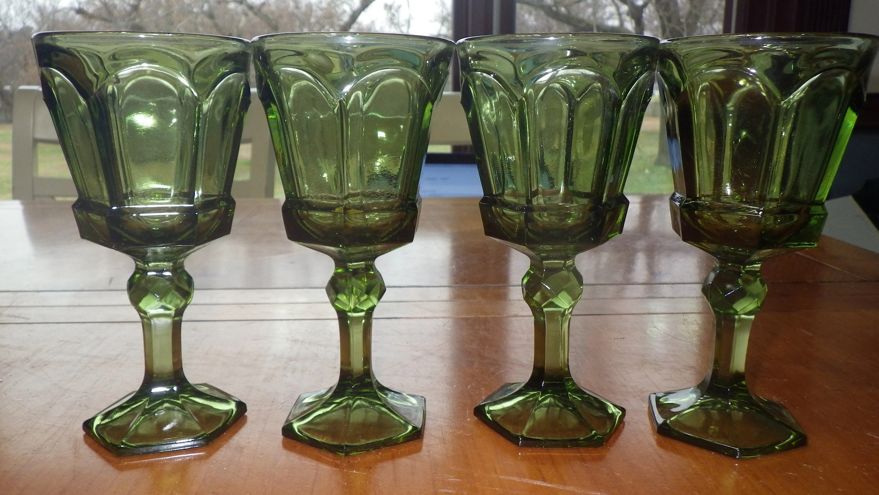 Flat Bottom Stem Wine Glasses Green Claret Wine Glasses By Fostoria Colonial Panel Faceted Ball Stem 5 Oz