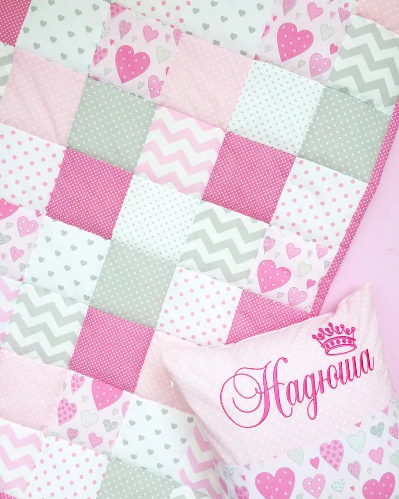 Patchwork Set Baby Baby Girl Crib Bedding Set Baby Bedding Set Patchwork Nursery Set Patchwork Blanket Personalised Pillow Heart Baby Blanket Pink Room