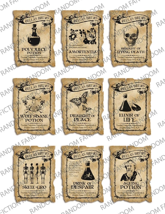 PP1 Printable Labels 9 Magic Potion Labels Harry Potter Etsy