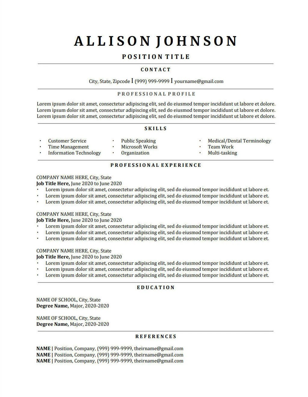 Classic Resume Template CV Template Professional Resume Etsy