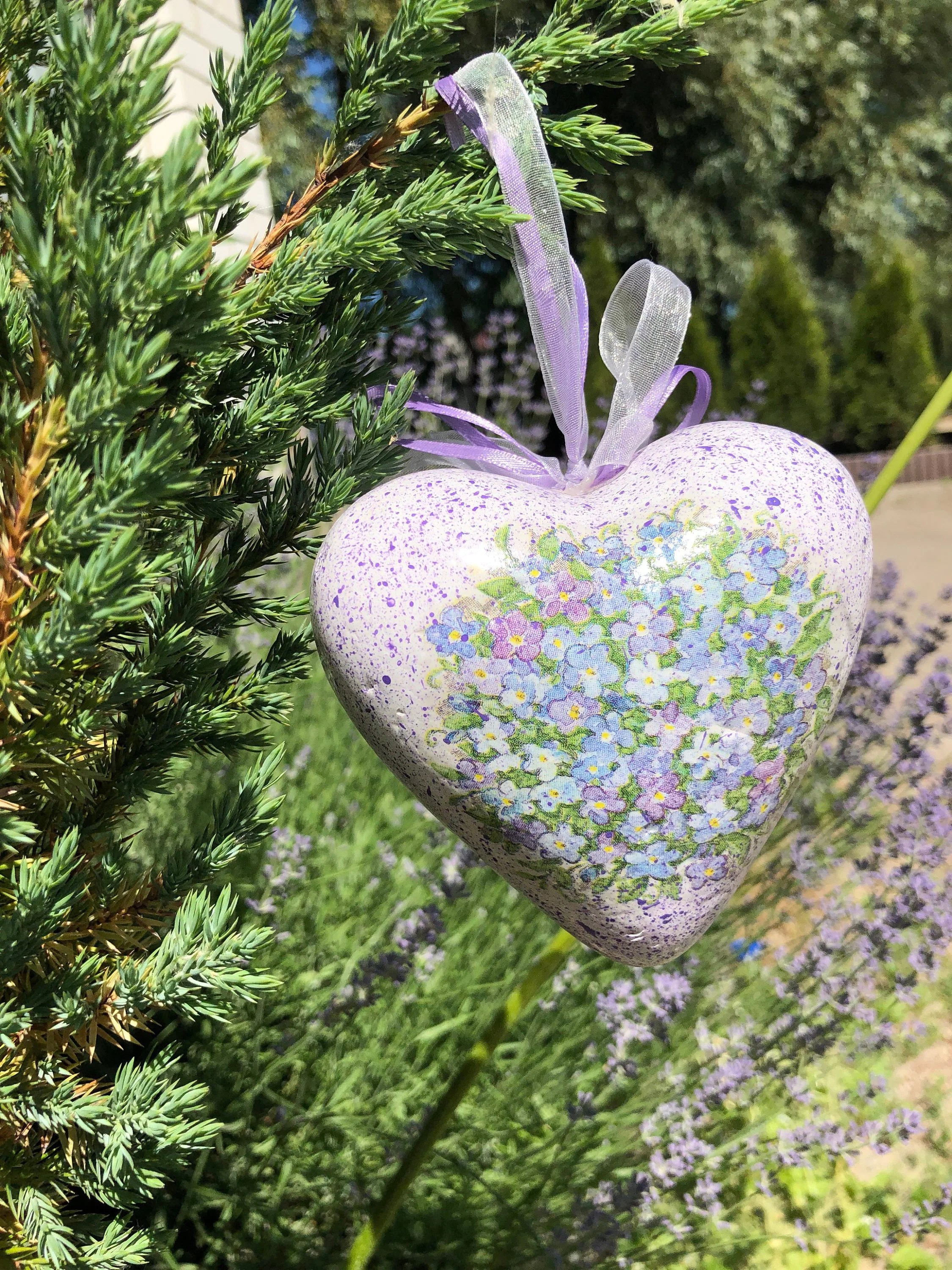Provence Decoration Vintage Lavender Heart Of Foam Decorated Provence Flowers Artificially Aged In Decoupage Technique On Ribbons Accessory For Wall Or Window