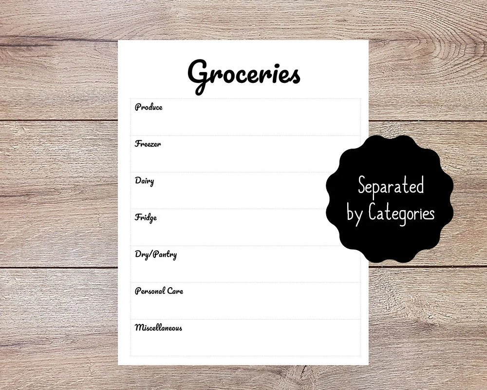 Grocery List Printable   Organized Grocery Shopping List   Etsy
