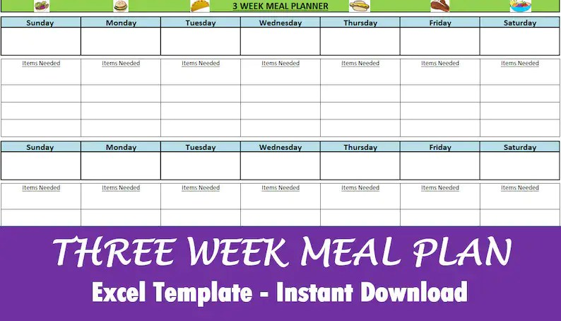 Meal Planner - Excel Download - three week template to get you organized!