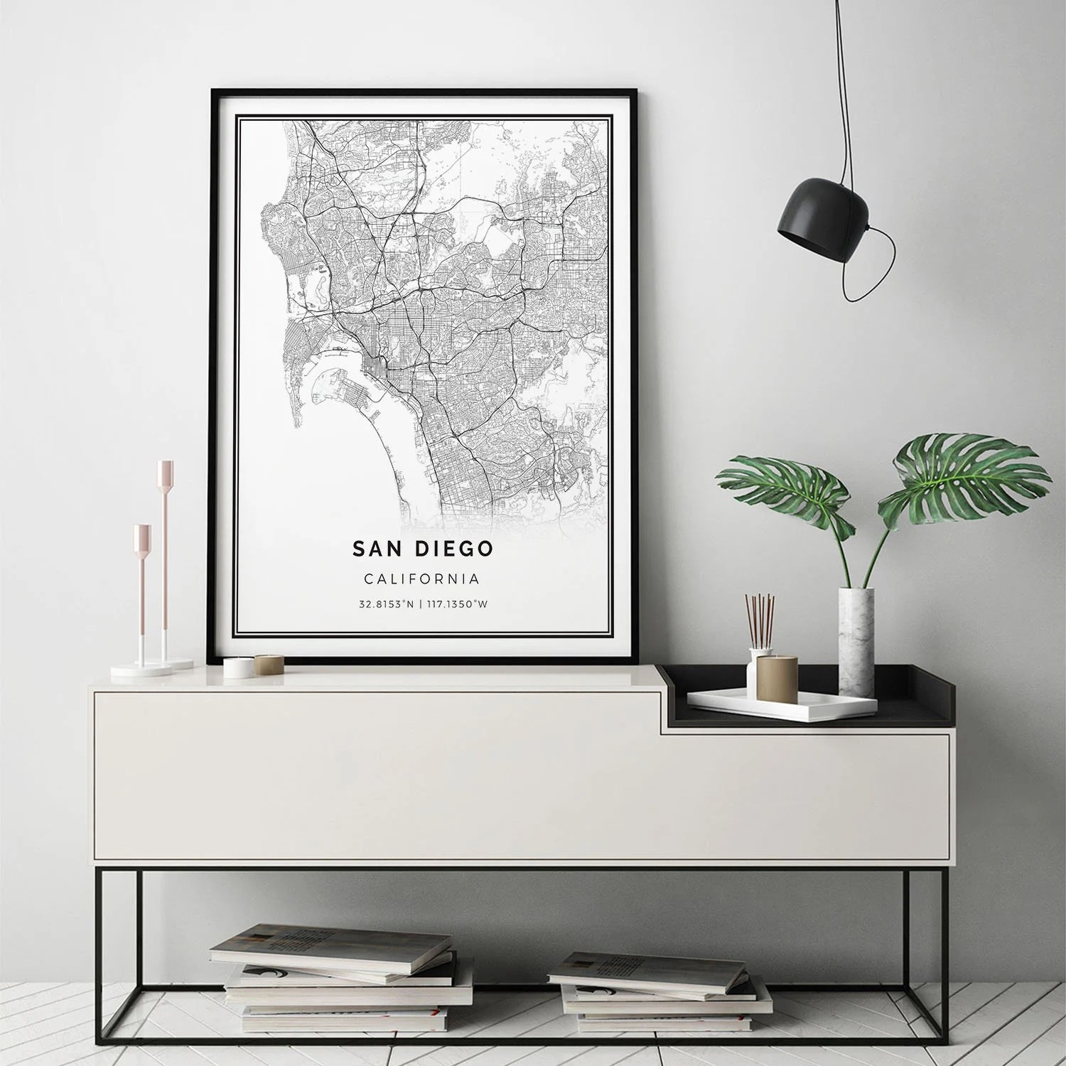 Scandinavian Furniture San Diego San Diego Map Print Scandinavian Wall Art Poster City Maps Artwork California Gifts Map Gifts For Him M8
