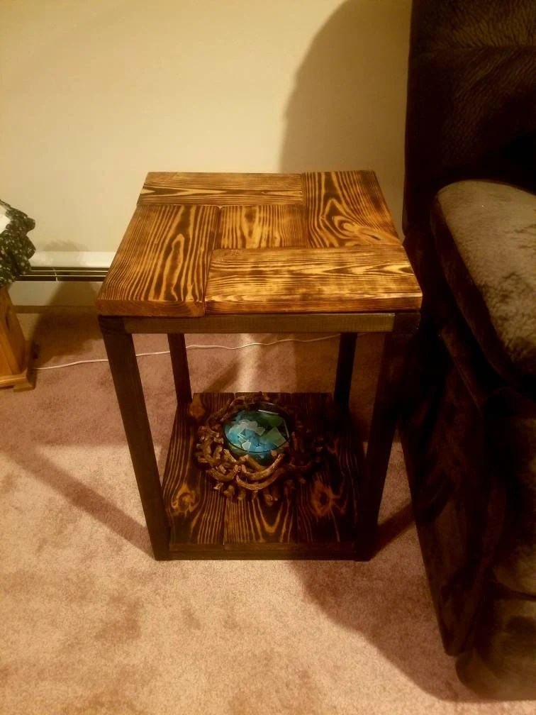 Rustic Wood End Table Rustic Wooden End Table Rustic Burned Sofa Table Living Room Table Coffee Table Game Room Table End Table With Bottom Shelf End Table