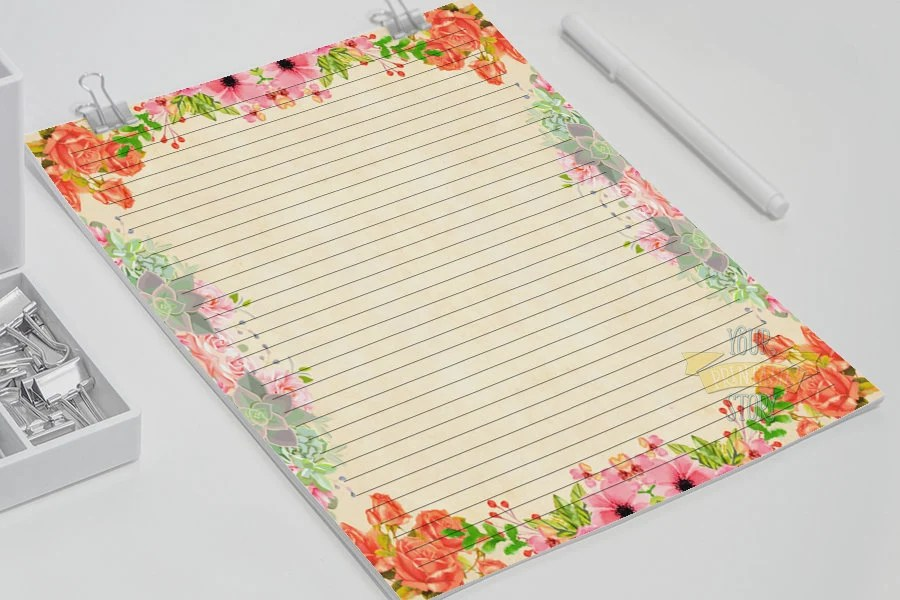 Floral stationery Printable letter paper gift for Etsy