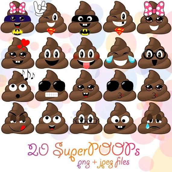 Poop Emoji Clipart Printable Kawaii Poo Superhero Stool Party Etsy