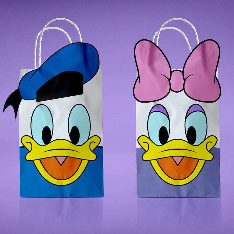 Donald Duck and Daisy Printable PDF Favor Bag Birthday Party Etsy