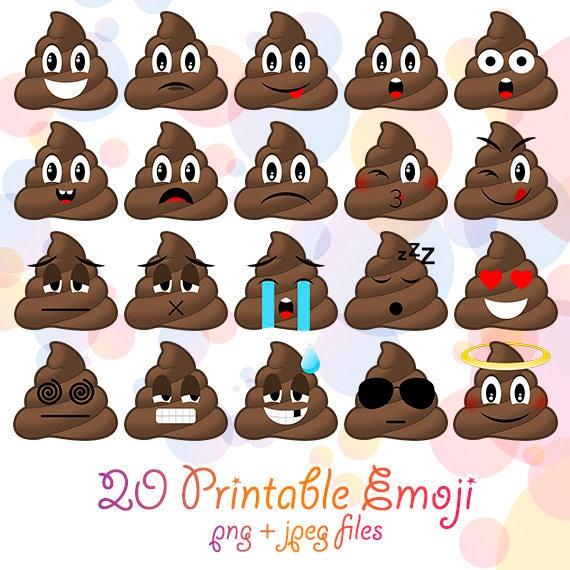 20 PNG JPG Emoji Poop Clipart Printable Poo Smiley Emoji Etsy