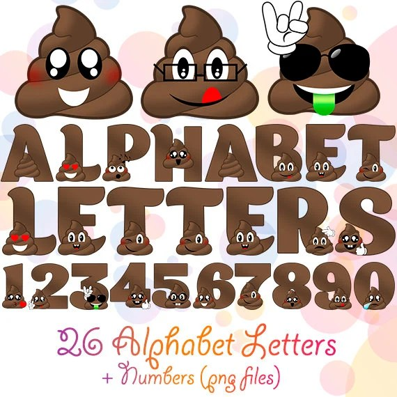 PNG Digital Poop Alphabet 36 Letters and Numbers Wall Etsy