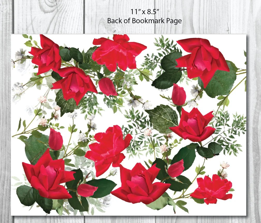 Funeral Bookmark Template Garden Red Roses Memorial Etsy