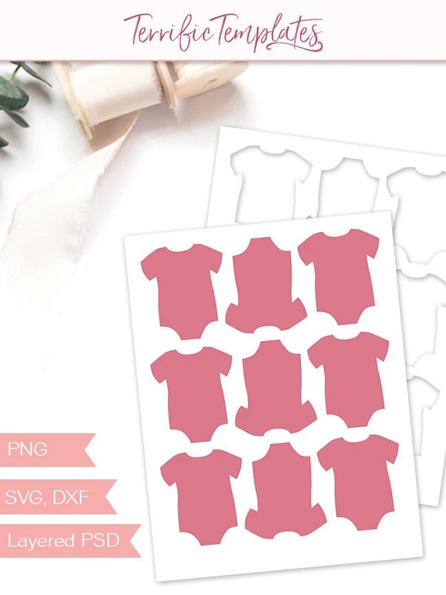 Baby onsie gift tag template party printable craft template Etsy