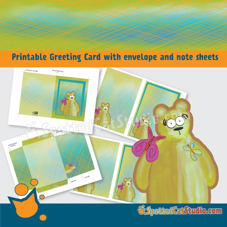 Honey Bear Greeting Card with Note Sheets includes printable Etsy