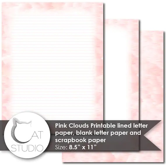 Pink Clouds Printable lined letter paper blank letter paper Etsy