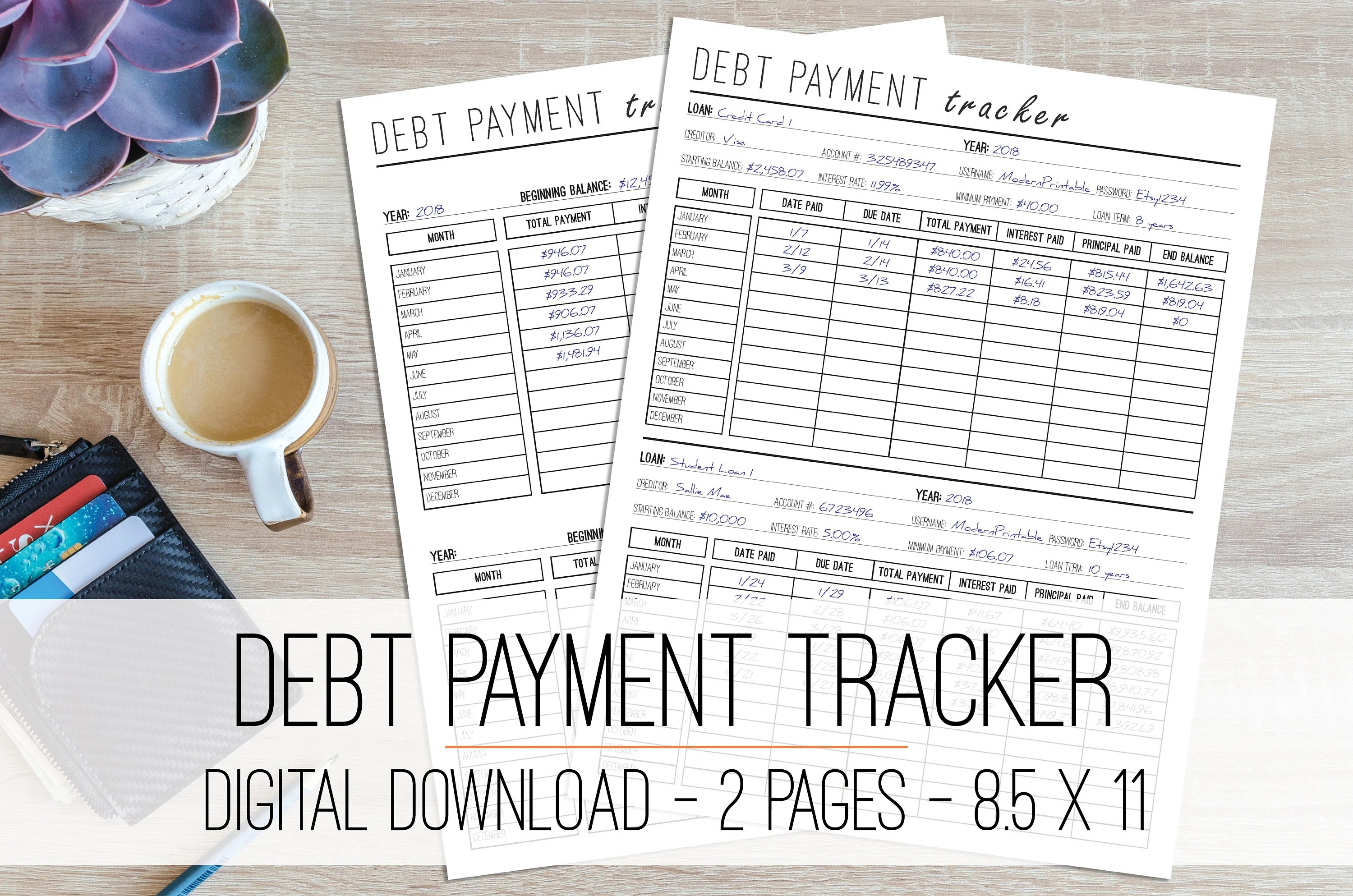 Debt Payment Tracker Printable Debt Snowball Monthly Debt Etsy