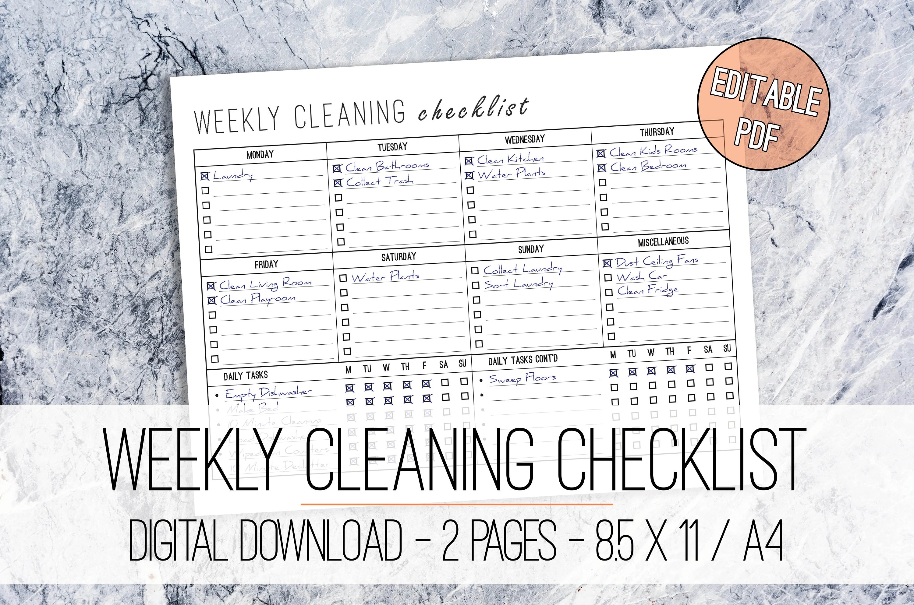 Weekly Cleaning Checklist EDITABLE Printable Letter  A4 Etsy