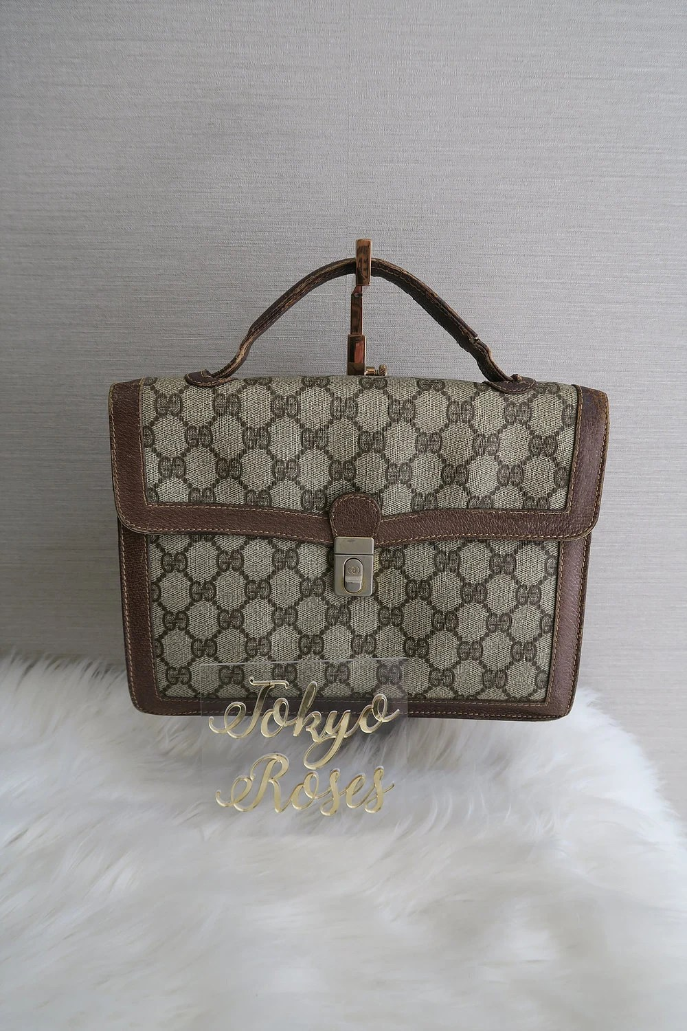 Etsy Vintage Gucci Vintage Gucci Gg Monogram Canvas Leather Business Bag Briefcase Handbag