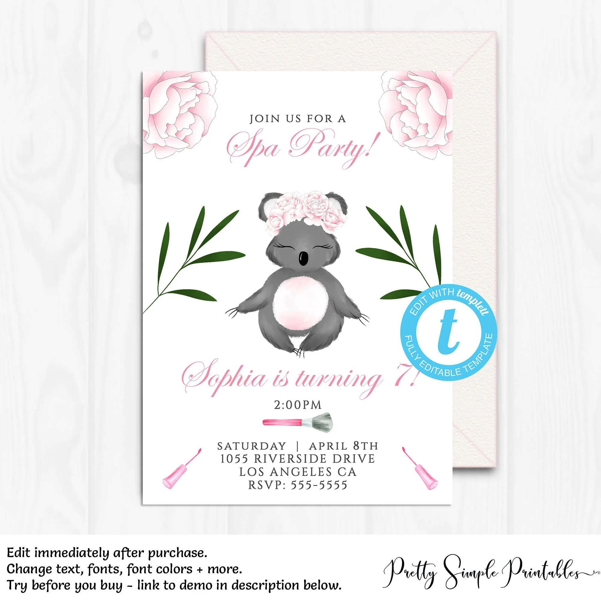 Spa Party Printable Invitations Editable Spa Party Kids Spa Etsy