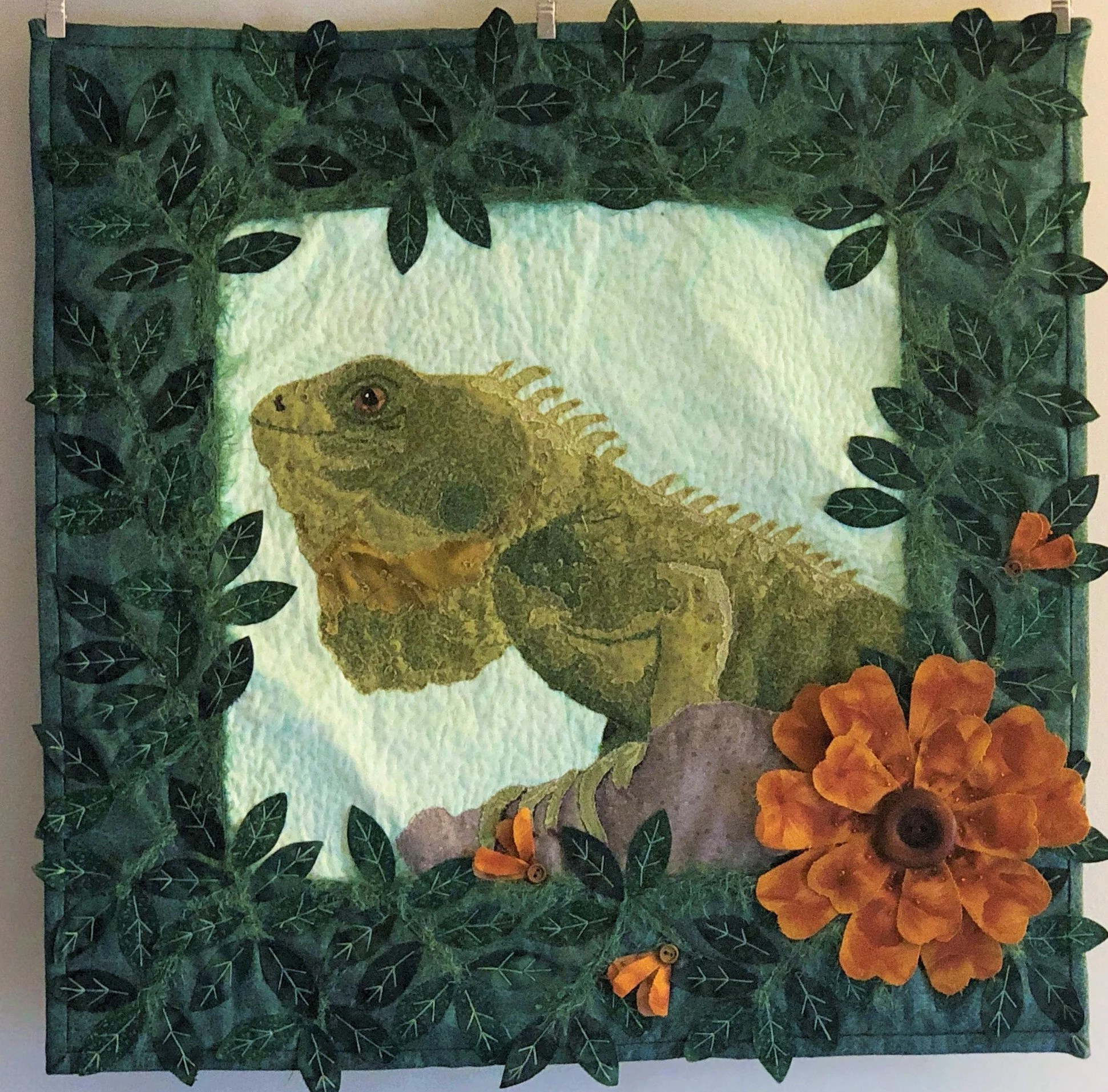 Pinterest Christmas Quilted Wall Hangings Quilted Wall Art Iguana Home Decor Wall Hanging