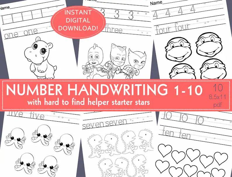 NUMBER HANDWRITING PRACTICE Worksheets PreK  Kindergarten  Handwriting/Tracer kindergarten,daycare,preschool,homeschool,#1- 10