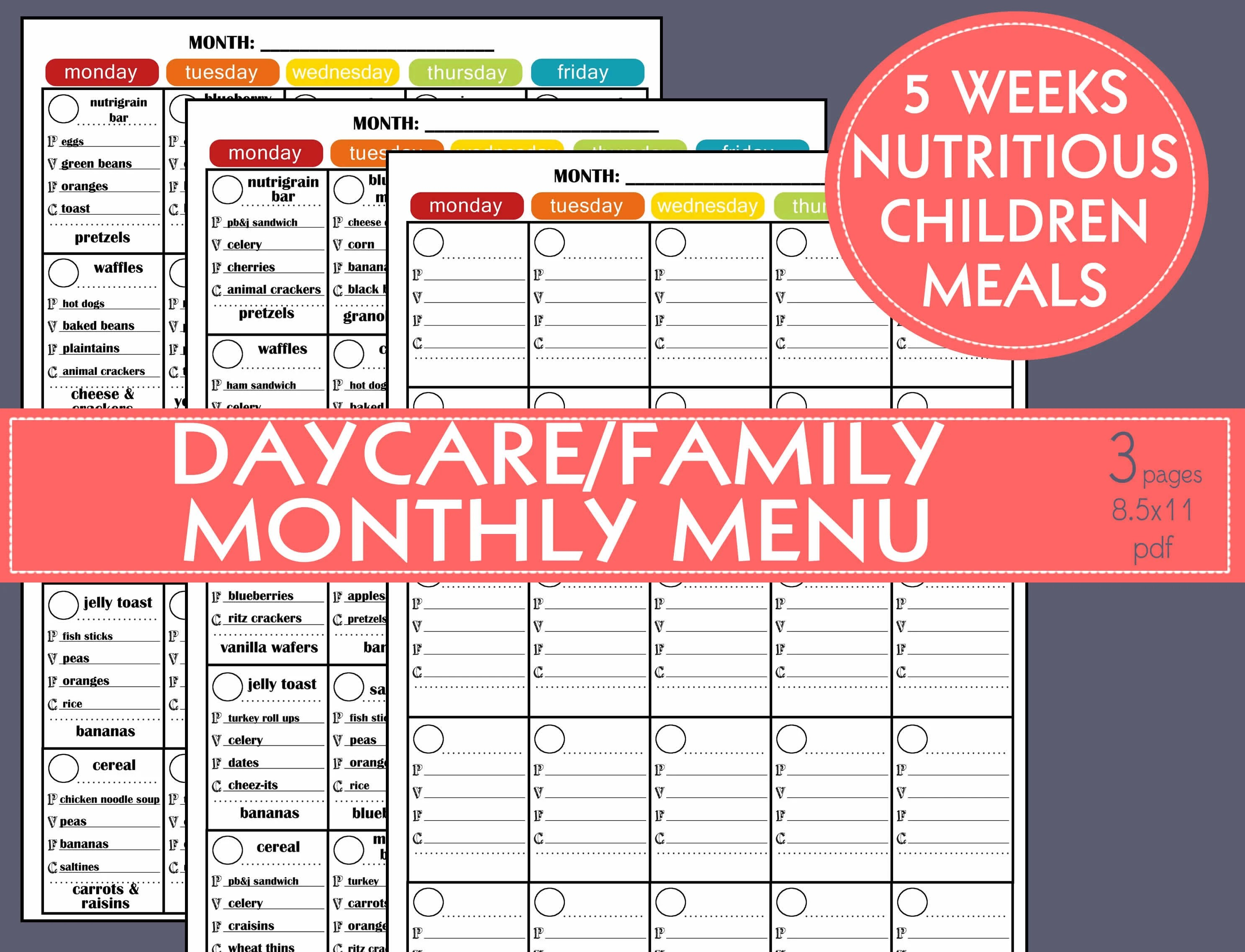 MONTHLY PRINTABLE MENU 5 Weeks nutritious fun meal rotation Etsy