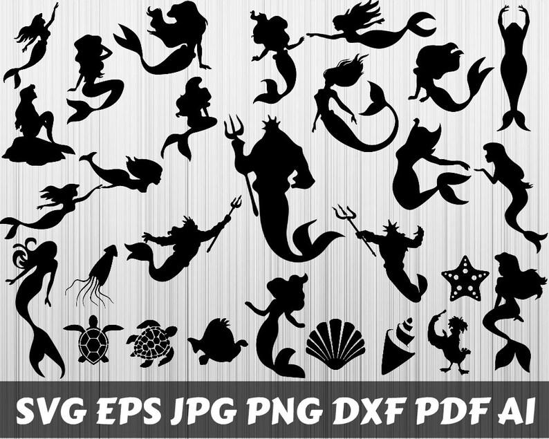 Little Mermaid SVG Mermaid SVG Little Mermaid Clipart Etsy