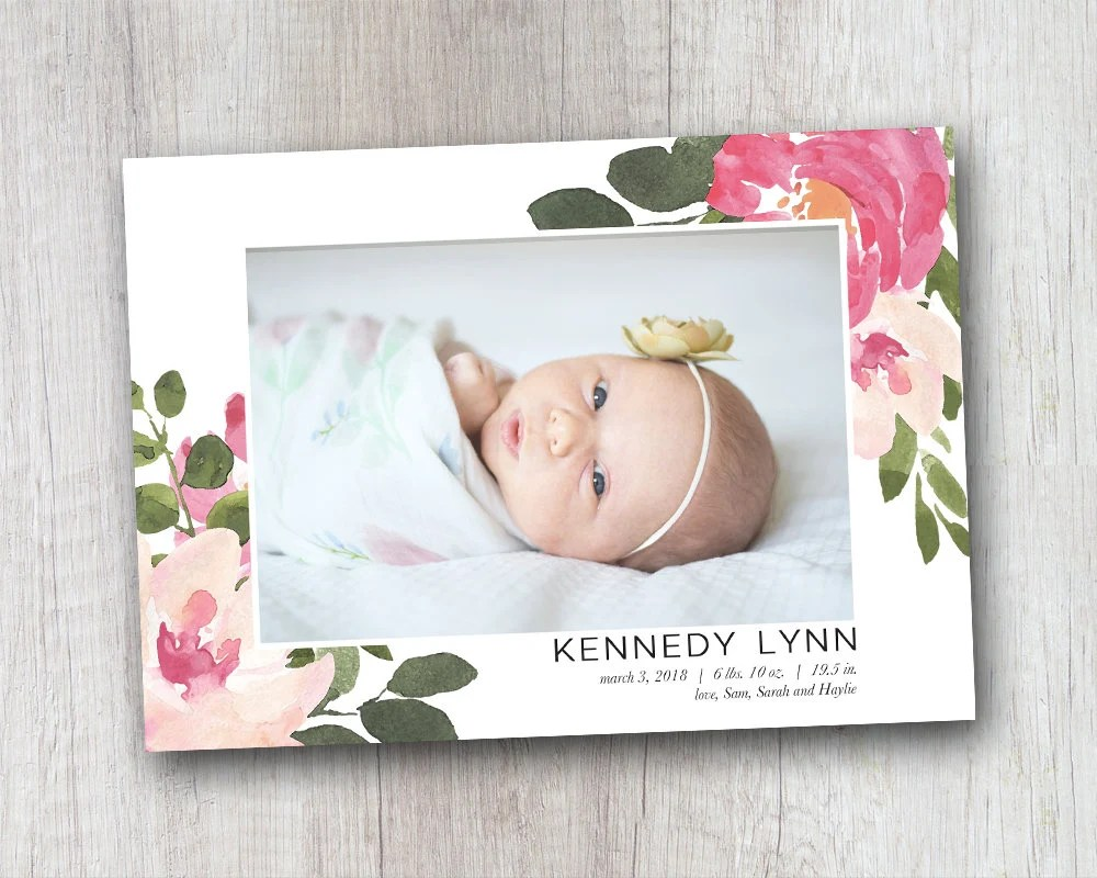 Baby Girl Announcement Floral Birth Announcement Baby Birth Etsy