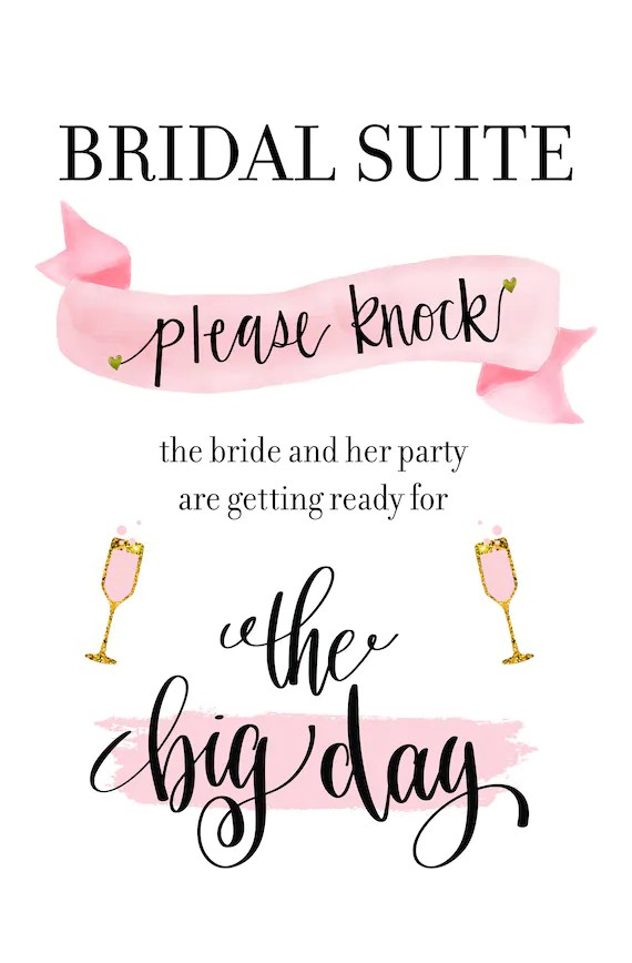 picture about Baby Sleeping Sign Printable called Bridal Suite Indicator For Wedding day Working day Remember to Knock Taking Prepared
