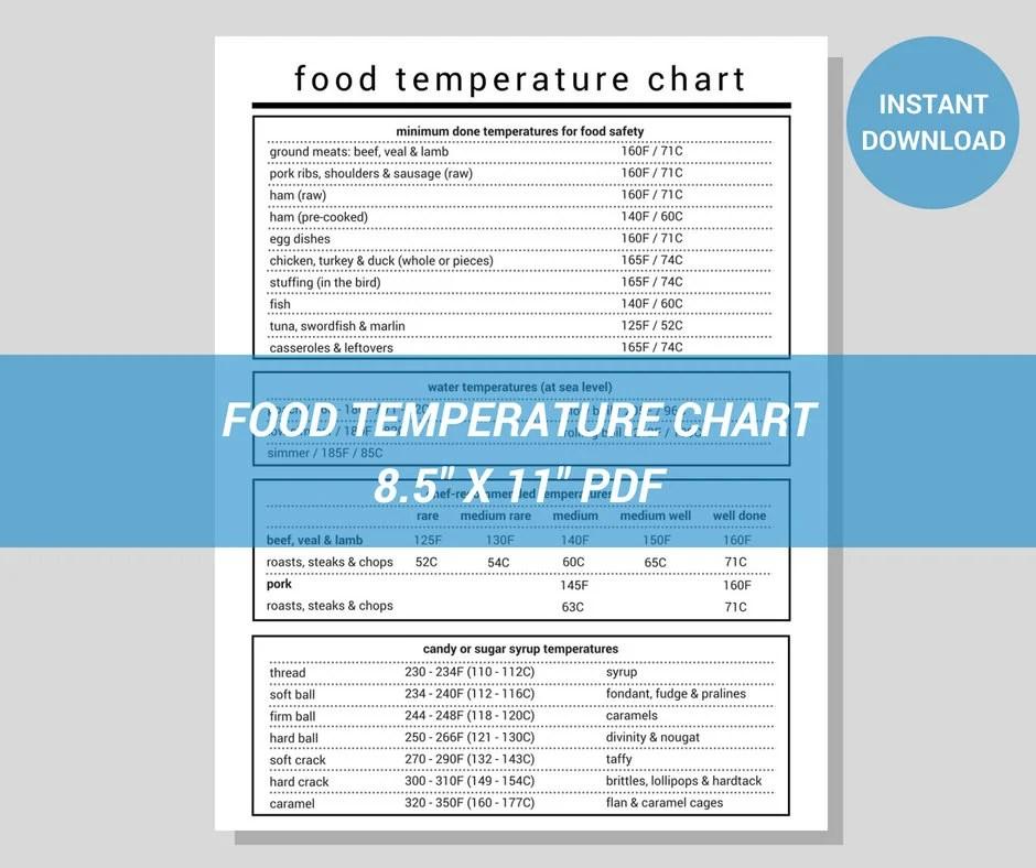 Food Temperature Chart Modern Minimalist Printable PDF Etsy