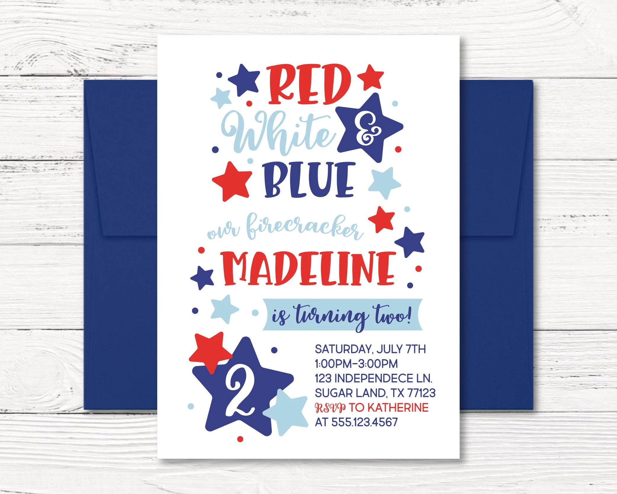 Fourth of July Invitation, 4th of July Birthday Invitation, Red